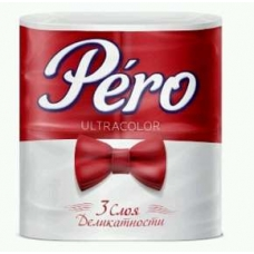 Туалетная  бумага Pero Ultracolor 3 слоя 4 рулона Красная