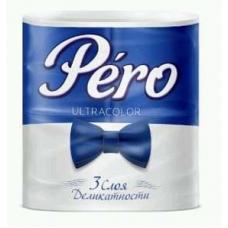 Туалетная  бумага Pero Ultracolor 3 слоя 4 рулона Синяя