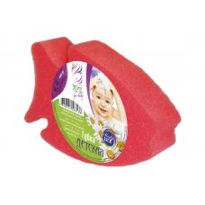 АКВИКОМП Губка для тела детская «Рыбка», 150×105×40 мм, красная