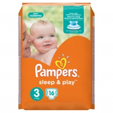 Подгузники Pampers Sleep & Play (5-9кг.) 16 шт.
