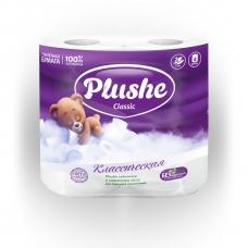 Туалетная бумага Plushe Classic Белая 2 сл. 4 шт.