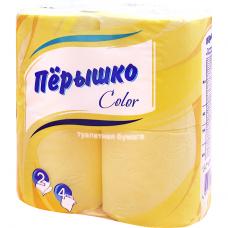 Туалетная  бумага ПЕРЫШКО Радуга Желтая 2 слоя 4 рулона