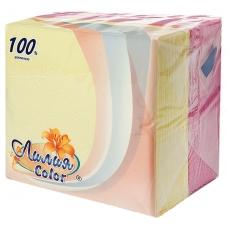 Салфетки Лилия Color белый+розовый 100 л.