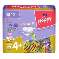 Подгузники Bella baby Happy 4+ (9-20 кг) 12 шт