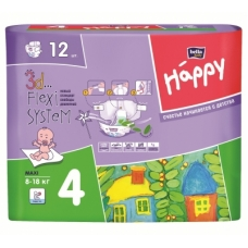 Подгузники Bella baby Happy 4 (8-18 кг) 12 шт