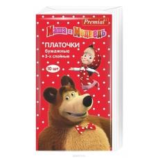 PREMIAL Платочки бумажные Маша и Медведь трехслойные неароматизированные 10 шт.