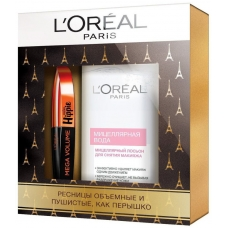 L'Oreal Paris Подарочный набор Тушь МЕГА ОБЪЕМ МИСС ХИППИ +  Мицеллярная  вода для сухой кожи