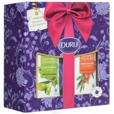 Подарочный набор DURU NATURES TREAS Гель для душа оливка + гель для душа облепиха + мочалка