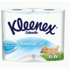 Туалетная бумага Kleenex Natural Care трехслойная 100% натуральная 4 рулона