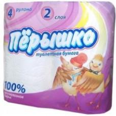 Туалетная  бумага ПЕРЫШКО Белая 2 слоя 4 рулона