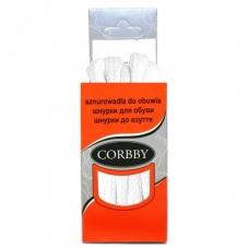 CORBBY Шнурки плоские БЕЛЫЕ 90 см.