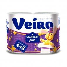 Туалетная бумага Linia Veiro Стандарт +  2 слоя 4 рулона