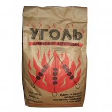 Уголь древесный в бумажных мешках березовый 2,5 кг.